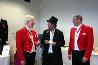 At the wedding reception, Robert as Toastmaster